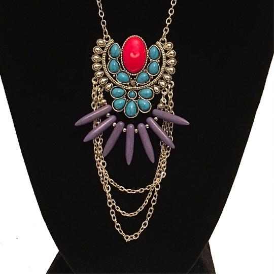 Other Turquoise & Red Marble Long Chain Tribal Pendant Necklace Image 4