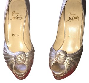 Christian Louboutin Embellished Leather Gold metallic Platforms
