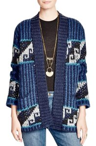 Free People Tribal Sz Med Blue Combo Cardigan