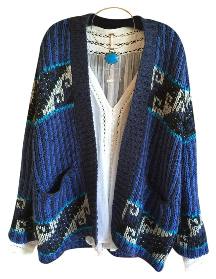 b2ba1bcb34c8 Free People Blue W/White Tribal Style Med (8-10) In Combo Cardigan ...