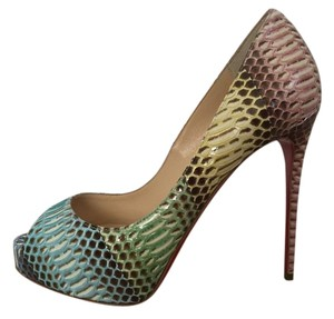 Christian Louboutin Snakeskin Peeptoe Platform Stiletto Multicolor Pumps