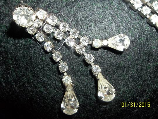 Unknown Pierced Earring Set, Crystal Rhinestones with Silver