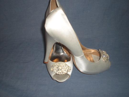 Badgley Mischka Satin Ivory Pumps Image 1