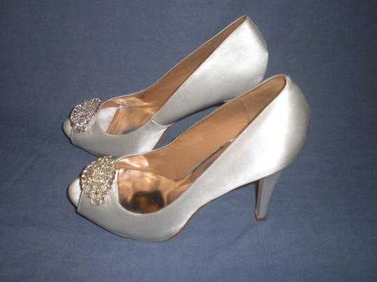 Badgley Mischka Satin Ivory Pumps Image 2