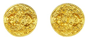 Chanel Chanel Vintage Ornate Surface Carving Clip-on Earrings