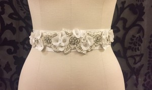 La Sposa Grosgrain Sash With Floral And Beaded Applique
