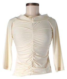 BCBGMAXAZRIA Cropped Gathered Top Ivory