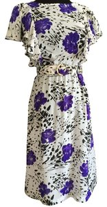 short dress White, purple, black Chiffon on Tradesy