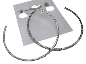 Collette Dinnigan Large hoop light weight earrings with swaroviski crystals.