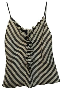 Ralph Lauren Black Label Ruffle Stripe Top Black & White