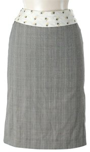 Tara Jarmon Floral & Plaid Print A-line Skirt Grey