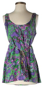 Miguelina Silk Floral Scoop Back Belted Top Purple