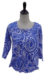 Banana Republic Print Br Resort Vacation Top Blue