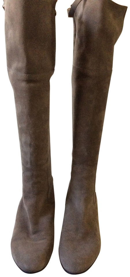 Stuart Weitzman Taupe Boots/Booties Suede Upbeat Knee-high Flat Boots/Booties Taupe 2789e2