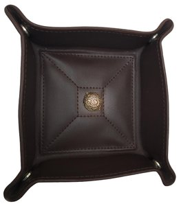 Red Envelope Men's -Brown Leather-jewelry tray-Dresser Valet-Gold rope accent