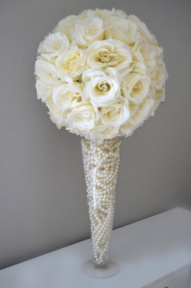 Ivory pair of 12 large flower ball silk flowers ceremony ivory pair of 12 mightylinksfo