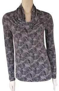 Anne Klein Draped Neckline Geometric Top Black