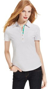 Tommy Hilfiger Polka Dot Polo Cotton T Shirt white, black,