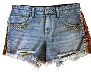 Urban Outfitters Embellished Festival Vintage Cut Off Shorts Blue