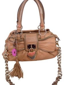 Betsey Johnson Lock Bow Zipper Leather Chain Satchel in BROWN