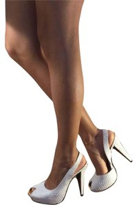 Report Signature Snakeskin Faux Snakeskin Leather Peep Toe White Platforms