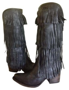 FreeBird Ranger Tall Fringed Boot Black Boots