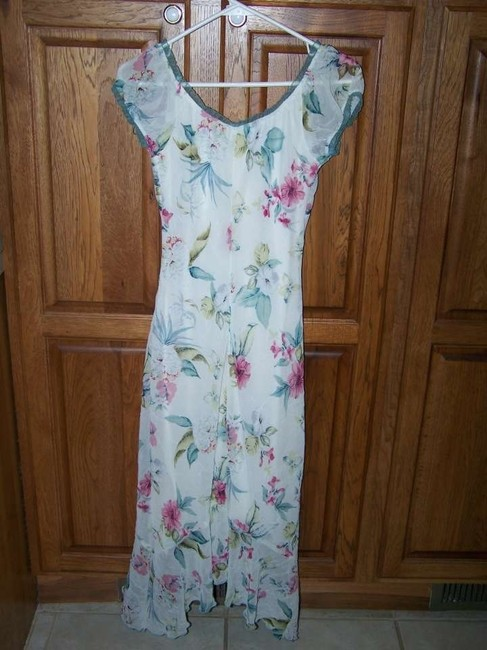 MULTI COLOR Maxi Dress by Xtraordinary Cap Sleeves Layered Length Floral White 5 Juniors