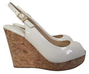 Jimmy Choo Patent Leather Cork White Wedges