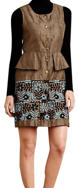 Anthropologie Safari Green Suede Peplum By Anna Sui Above Knee Short Casual Dress Size 6 (S) Anthropologie Safari Green Suede Peplum By Anna Sui Above Knee Short Casual Dress Size 6 (S) Image 1