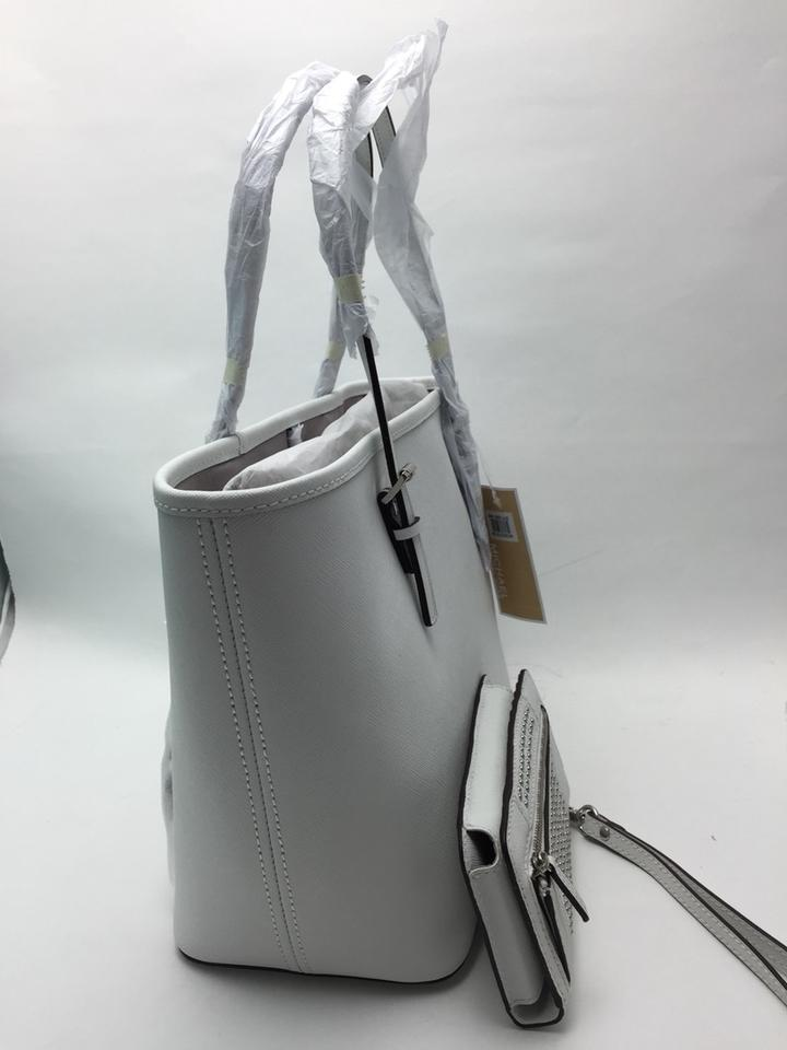 7c9849328d24 MICHAEL Michael Kors Microstud Center Stripe Small Travel + Slim Tech  Wristlet Optic White Tote - Tradesy