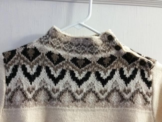 Coldwater Creek Fair Isle Beaded Knit Ski Sweater