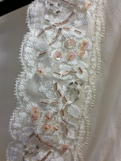 Express Sheer Lace Trim Beaded 3/4 Sleeve Flowy Empire Waist Top Ivory