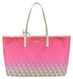 DKNY Pvc Leather Reversible Tote in Pink Chino