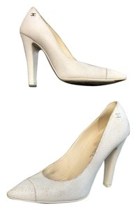 Chanel Leather White Pumps