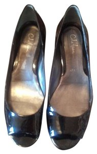Cole Haan Designer Black Patent Leather Wedges