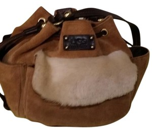 UGG Australia Wristlet in tan suede and dark brown leather