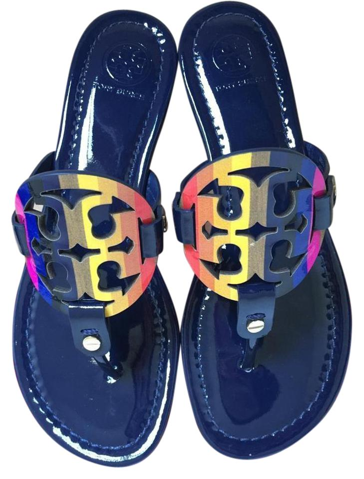 19e59daf840f Tory Burch Royal Navy Miller Rainbow Logo 10m Sandals Size US 10 ...