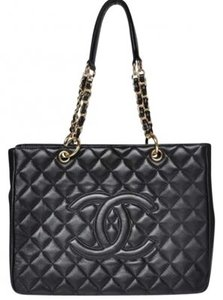 Chanel Leather Shopper Quilted Gold Shopper Vintage Styled Quilted Shopper Tote in Black
