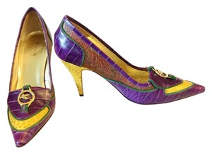 Etro Paisley Reptile Purple, Brown, Yellow Pumps