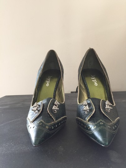 Hype Dark Green Leather Pumps