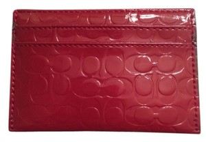 Coach Patent Leather Monogram Wristlet in Red patten