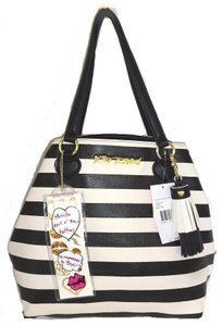 Betsey Johnson Stripe Tote in black/ bone