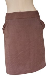 Ann Taylor LOFT Herringbone Career Skirt Brown