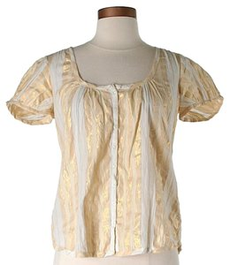 French Connection Striped Lace Trim Top Gold