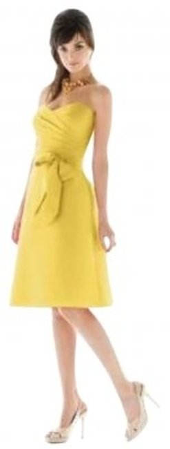 Preload https://item2.tradesy.com/images/alfred-sung-yellow-daffodil-knee-length-cocktail-dress-size-4-s-162661-0-0.jpg?width=400&height=650