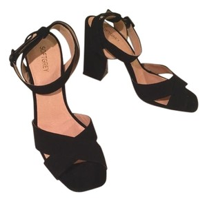Soft Grey - LaRedoute Chunky Heel Black Suede Sandals