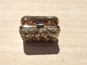 Expressions Chain Metallic Embellished Gold Clutch