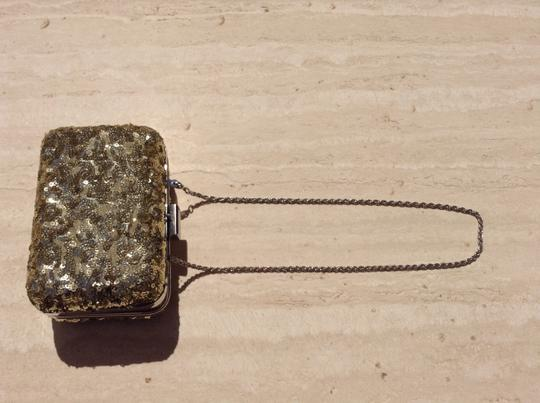 Expressions Chain Metallic Embellished Gold Clutch Image 1