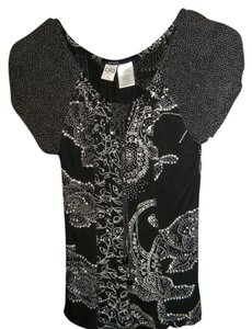 bila Top black with white and sequins and beading