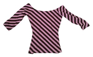 Betsey Johnson Top Pink brown stripes
